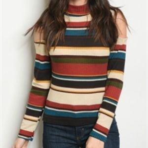 Mock neck cut out shoulder striped rainbow top